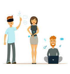 Set of people with modern gadgets man in virtual vector
