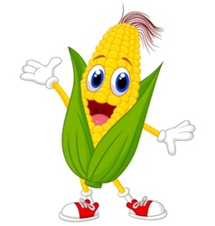 Cute corn cartoon character vector image