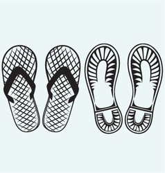 Trail boots and flip flop vector