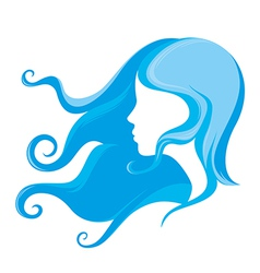 Young girl with long hair vector