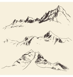 Mountains contours engraving sketch vector