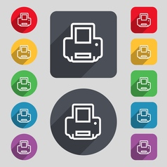Printing icon sign a set of 12 colored buttons and vector