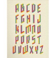 Retro 3d impossible shapes type font set vector