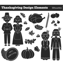 Thanksgiving silhouette elements vector