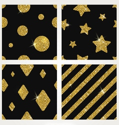 Set of glitter gold seamless background vector