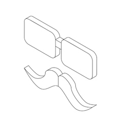 Glasses and mustache icon isometric 3d style vector