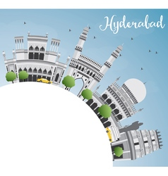 Hyderabad skyline with gray landmarks vector