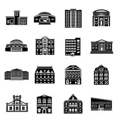 Public buildings icons set simple style vector