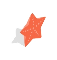 Red starfish icon isometric 3d style vector