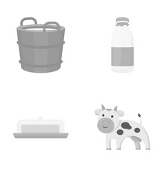 A barrel of milk butter a cow milk set vector