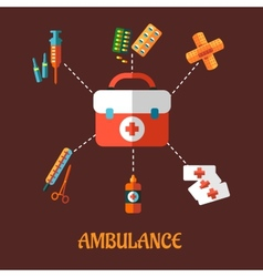 Ambulance icons flat concept vector image