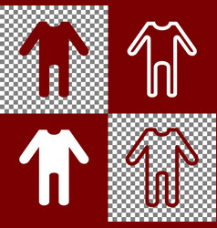 Baby clothes sign bordo and white icons vector