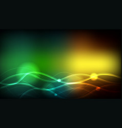 Background template with green and yellow wavy vector