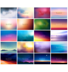 Big set of 20 horizontal wide blurred nature vector
