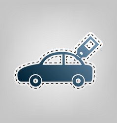 Car sign with tag blue icon with outline vector