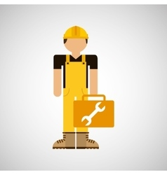 Character construction man with tool box wrench vector