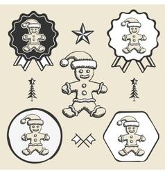 christmas gingerbread man vintage symbol emblem vector image