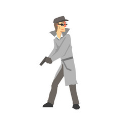 Detective character with gun private investigator vector