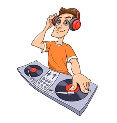 Dj playing music vector image