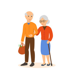 Elderly people go under the arm in the shop vector