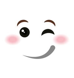 Flirtatious face emoticon kawaii style vector