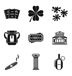 Gambling house icons set simple style vector