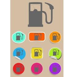 Gas station fuel pump black icon set vector