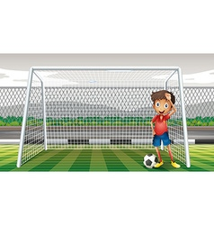 Goalkeeper standing at the goal vector image vector image