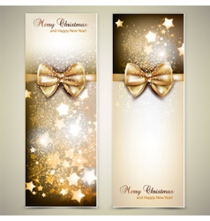Greeting cards with golden bows and copy space vector image vector image