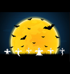 halloween white ghost moon bat graveyard vector image vector image