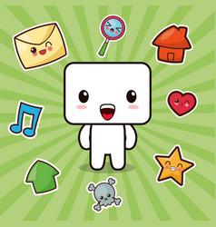 kawaii character social media icons vector image vector image