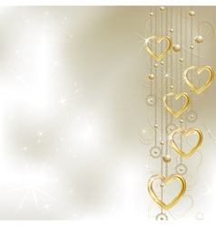 Light golden hearts vector image