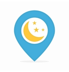 Logo combination of a map pointer and moon vector