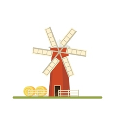 Mill isolated on white background Flat vector image
