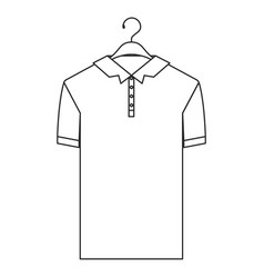 monochrome silhouette of polo shirt short sleeve vector image