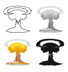 Nuclear explosion icon in cartoon style isolated vector