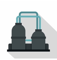 Oil refinery plant icon flat style vector