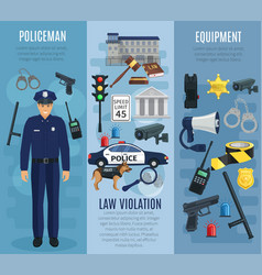Policeman with equipment law violation banner set vector