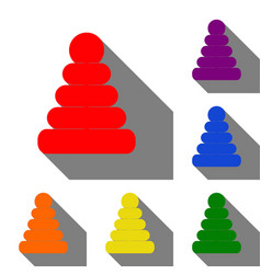 Pyramid sign set of red orange vector