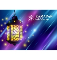 Ramadan kareem greetings with colorful set of vector