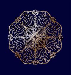 round golden decorative floral mandala element vector image