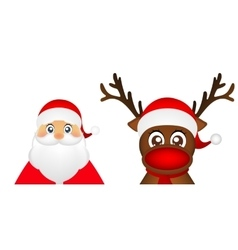 Santa claus and christmas reindeer are standing vector