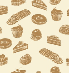 Seamless cake background vector image