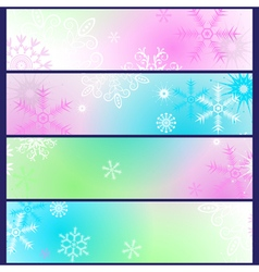 Set colorful gradient winter banners vector