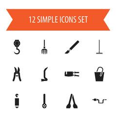 Set of 12 editable tools icons includes symbols vector