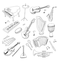 Set of Music Instruments - hand drawn vector image vector image