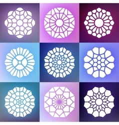 Set of nine mandala decorative ornaments vector
