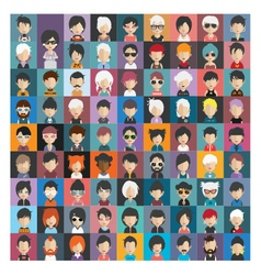 Set of people icons in flat style with faces 19 b vector