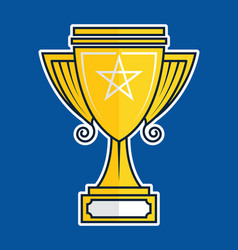 Trophy cup flat icon vector
