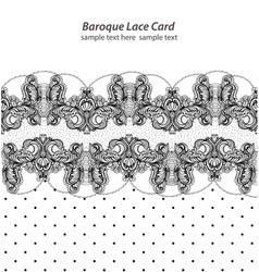 Vintage delicate lace card retro dotted style vector